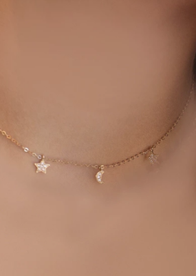 Right Hand Gal Right Hand Gal - Moon and Star Necklace in 14K Yellow Gold