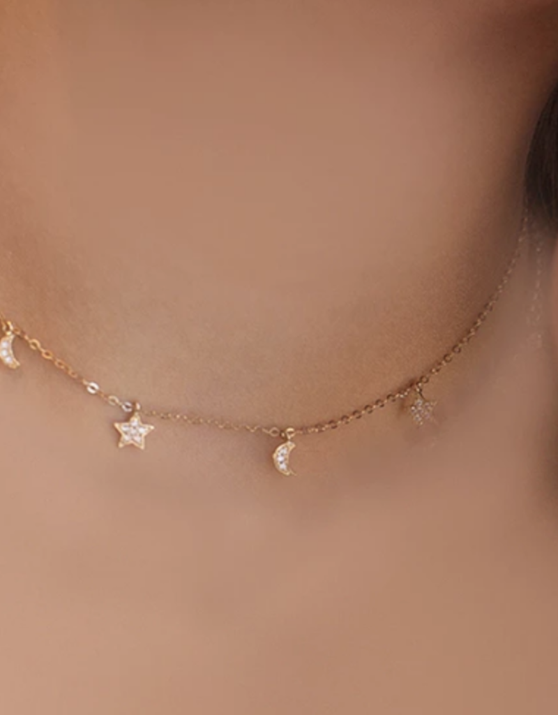 Right Hand Gal Moon and Star Necklace