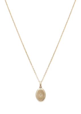 Leah Alexandra Leah Alexandra - Petite Satin Locket Necklace with Diamond