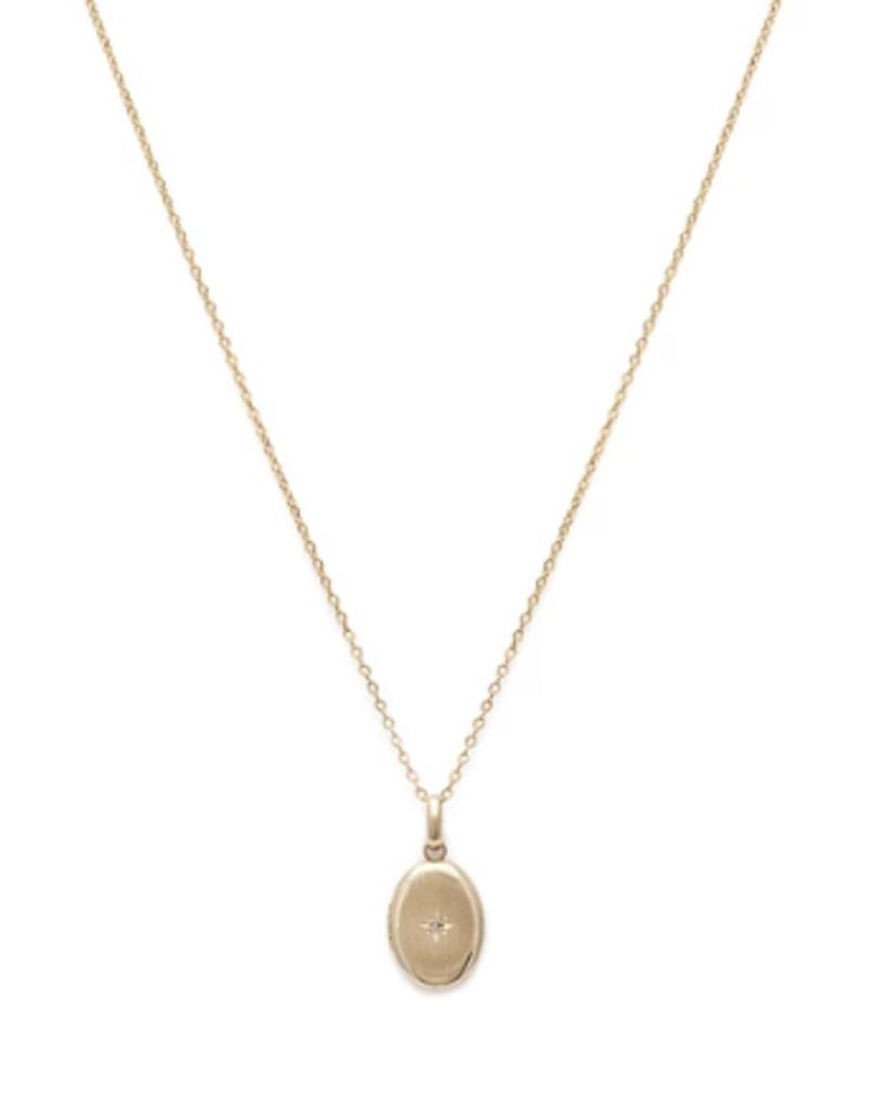 Leah Alexandra Leah Alexandra Petite Satin Locket Necklace with Diamond
