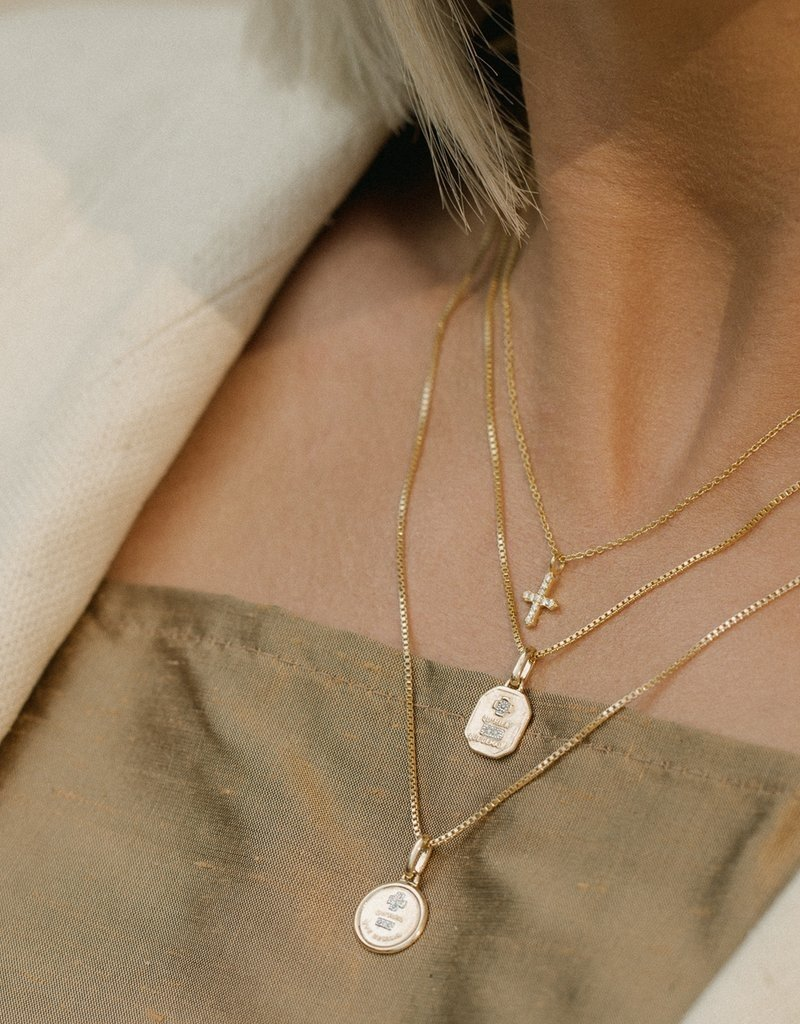 Leah Alexandra Leah Alexandra Circle Love Token Necklace - Gold 18""