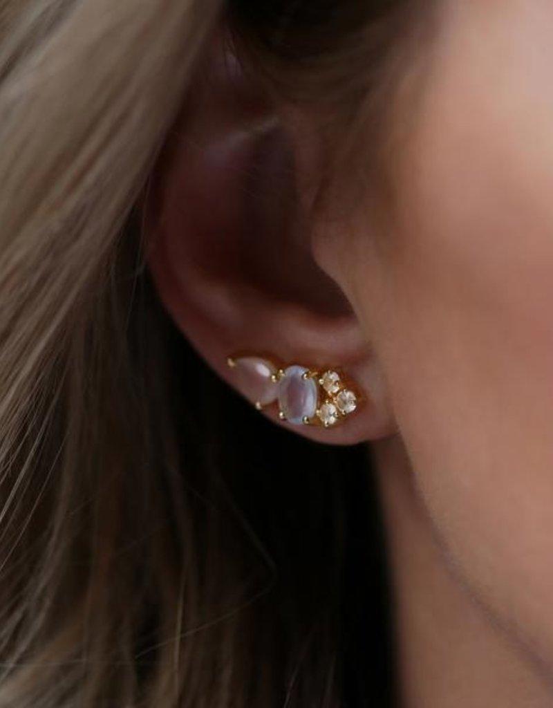 Leah Alexandra Leah Alexandra Multi Ear Climber - Rose Pink