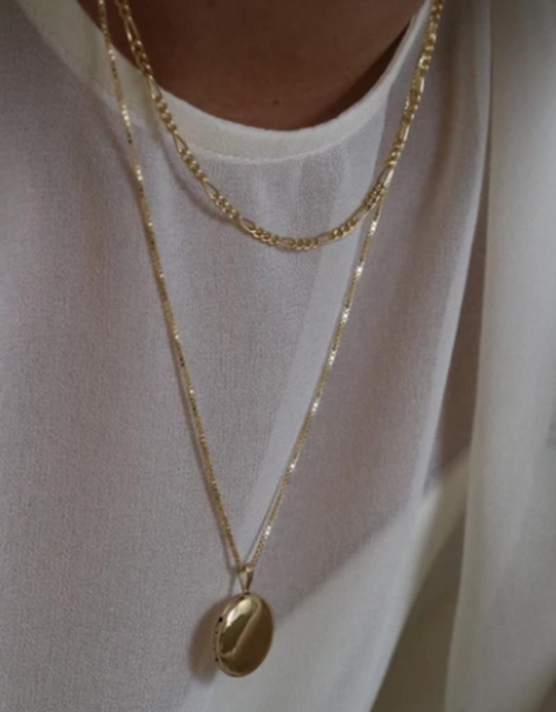 Lisbeth Round Locket Necklace - Gold