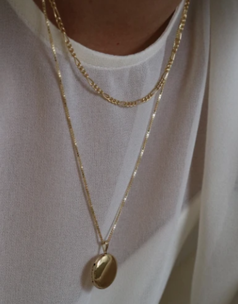 Lisbeth Round Locket Necklace - Silver