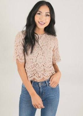 Space46 Jaylyn Layered Lace Top - Taupe