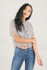 Space46 Jaylyn Layered Lace Top - Blue-Grey