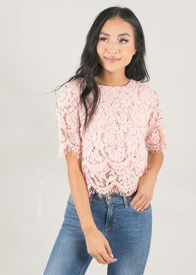 Space46 Jaylyn Layered Lace Top - Pale Pink