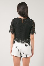 Space46 Jaylyn Layered Lace Top - Black