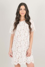 Space46 Addie Lace Shift Dress - Nude White