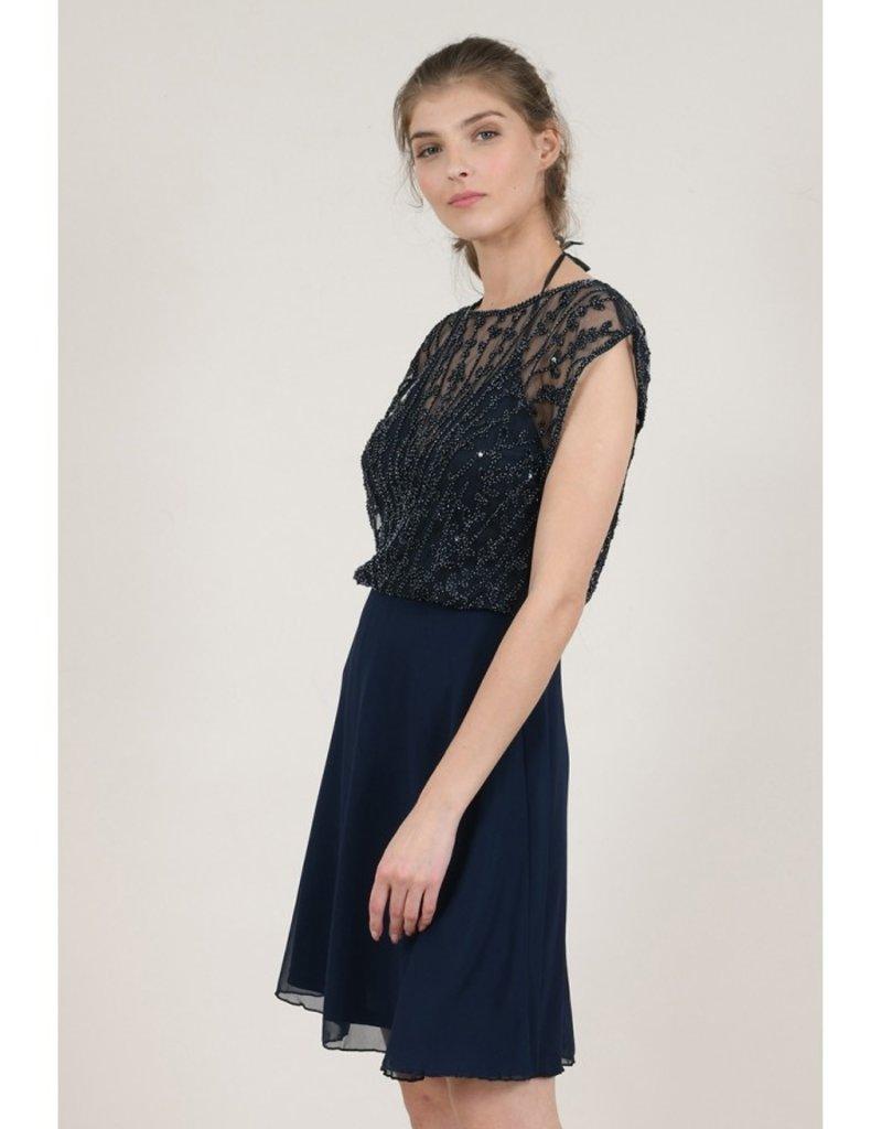 Molly Bracken Jen Beaded Dress in Navy Blue