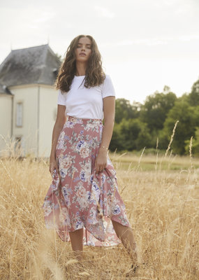 Auguste the Label Pascal Fleur Wrap Midi Skirt Rose