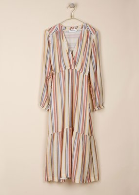 Indi & Cold Terracota Side Tied Striped Dress