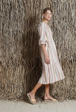 Indi and Cold Terracota Side Tied Striped Dress