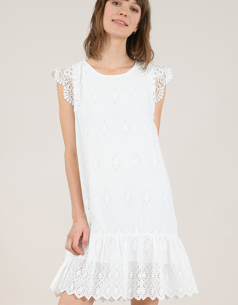 Molly Bracken Eyelet Shift Lace Dress White