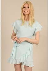 Molly Bracken Donna Ruffle Faux Wrap Dress in Mint