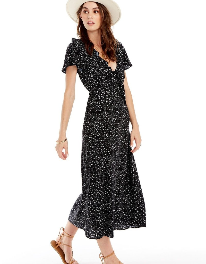 Saltwater Luxe Astoria Midi Black Floral Dress