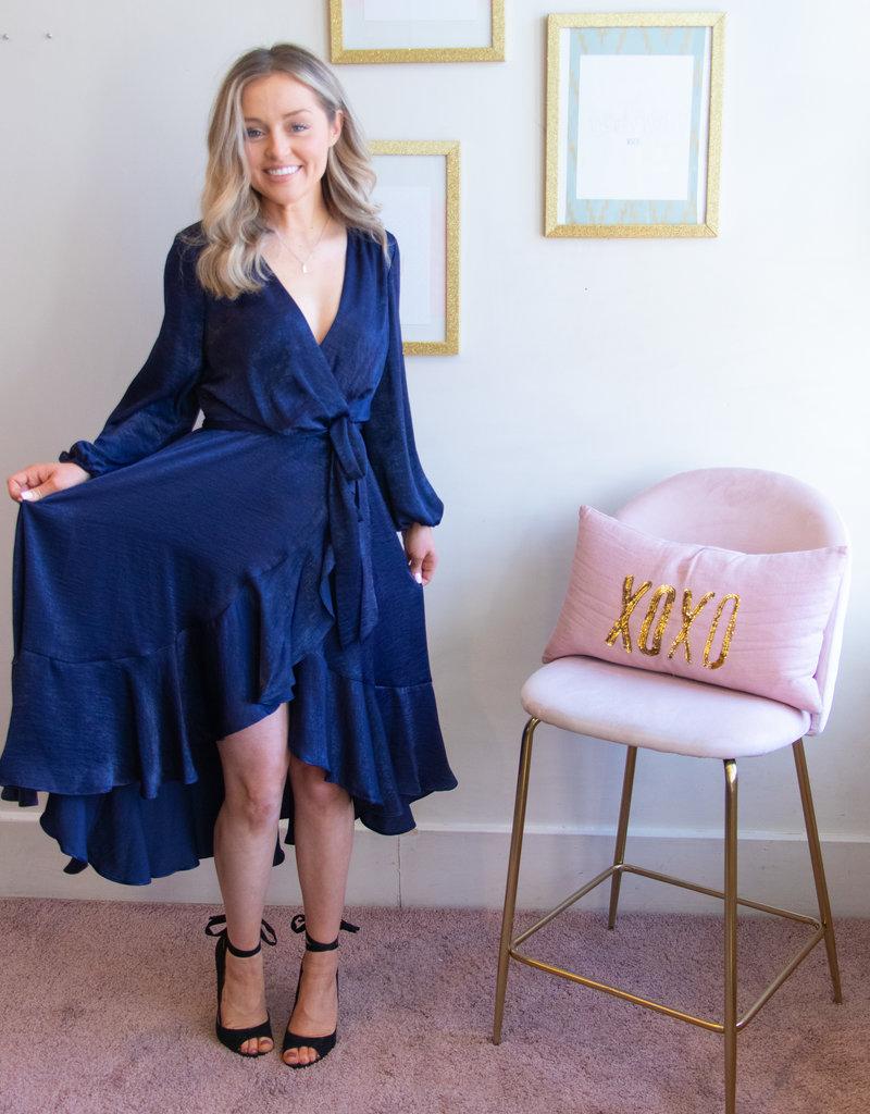 Gal Meets Glam Jennifer Shimmer Satin Ruffle Wrap Dress
