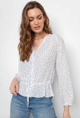 Rails Marti Top - White Wisteria Print