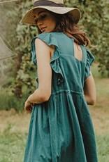Louizon Joyeuse Ruffle Trim Midi Dress
