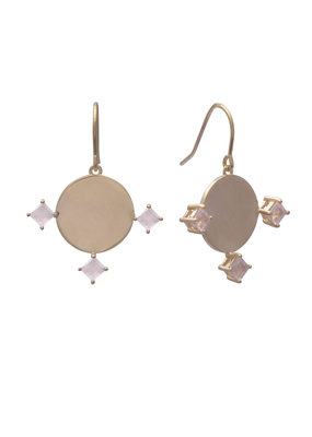 Sarah Mulder Imperial Earrings Gold and Rose Quartz