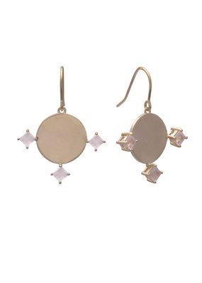 Sarah Mulder Imperial Earrings Gold and Rose Quartz