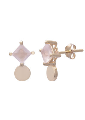 Sarah Mulder Sorn Stud Earrings in Gold and Rose Quartz