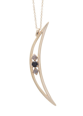 Sarah Mulder Crescent Moon Necklace in Gold and Labradorite