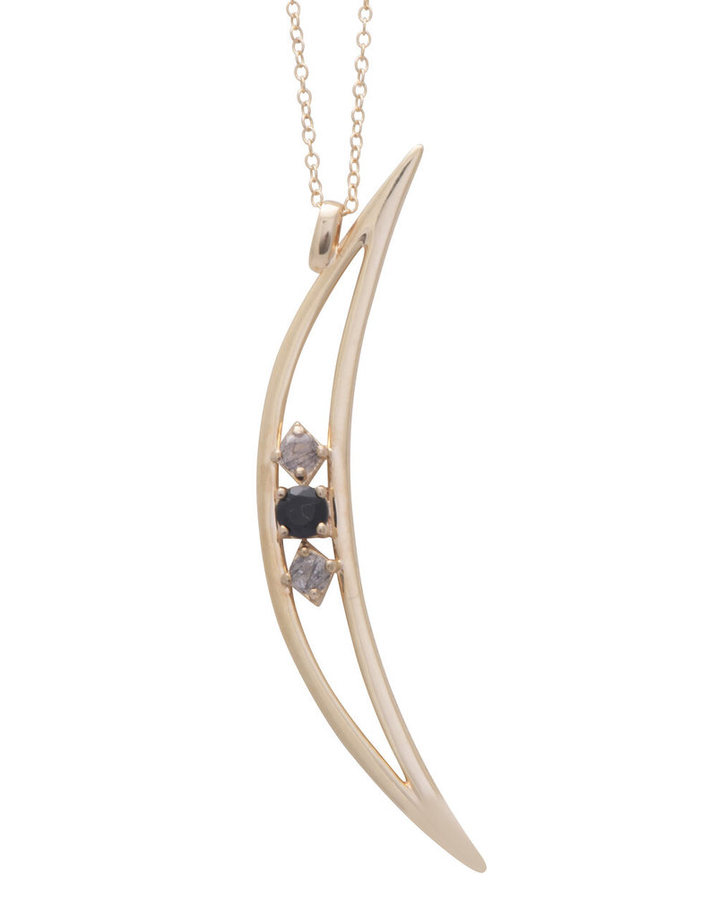 Sarah Mulder Crescent Moon Necklace - Onyx