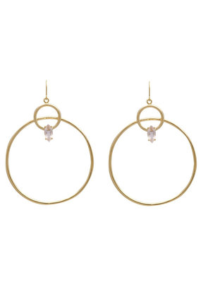 Sarah Mulder Melody Earrings in Gold and Rose Quartz