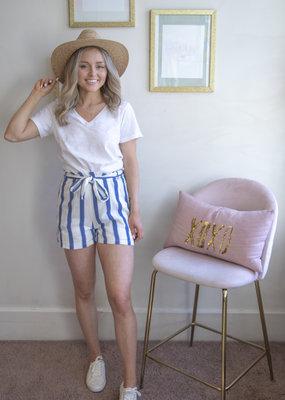 Designers Society Stella Striped Cotton Shorts