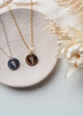 Amara Blue Designs Hand-Stamped Rose Disc Necklace