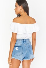 Show Me Your Mumu Kaya Crop Top White Gauze