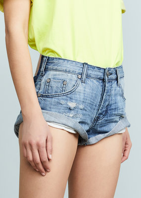One Teaspoon Bandits Denim Shorts - Original Blue
