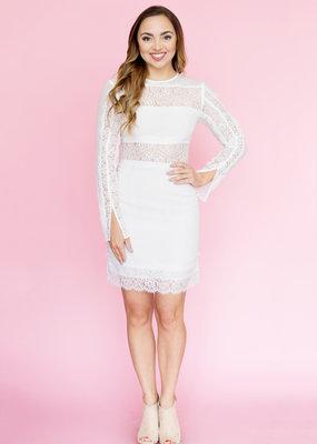Stylestalker Ivory Lace Mini Dress