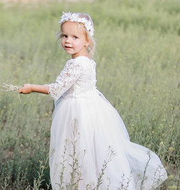 Ruffles & Bowties Lace Top and Tulle Skirt Flower Girl Set White