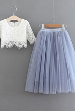 Ruffles & Bowties Lace Top and Tulle Skirt Flower Girl Set Blue Purple