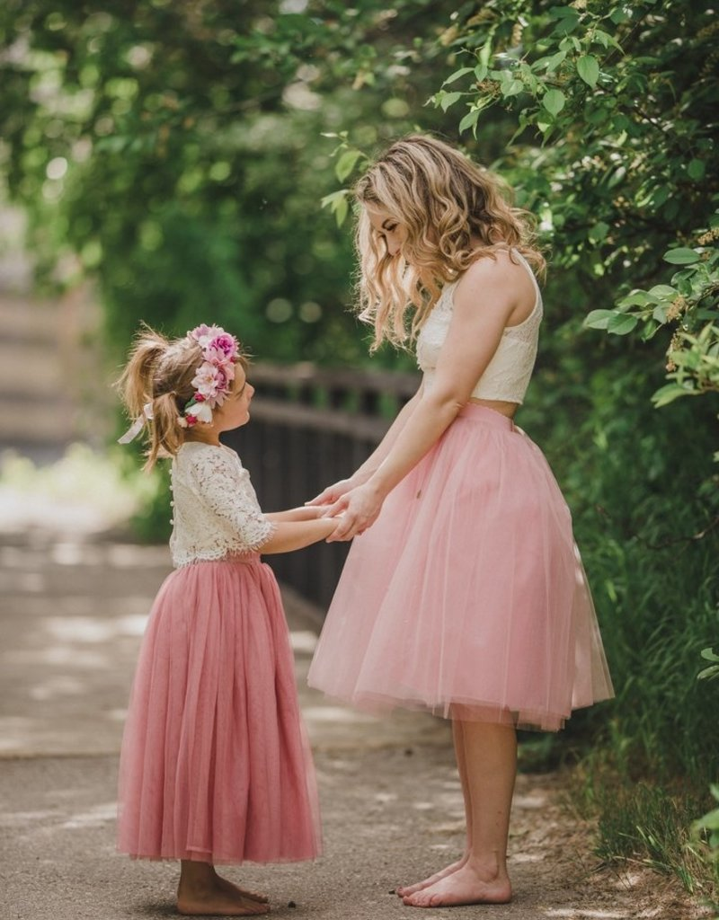 Ruffles & Bowties Lace Top and Tulle Skirt Flower Girl Set Dusty Rose