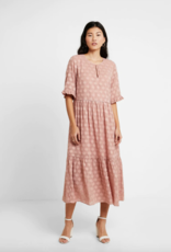 Part Two Reina Pink Tiered Spotted Midi Dress