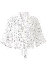 Cupcakes & Cashmere Gardenia White Top with Black Polka Dots