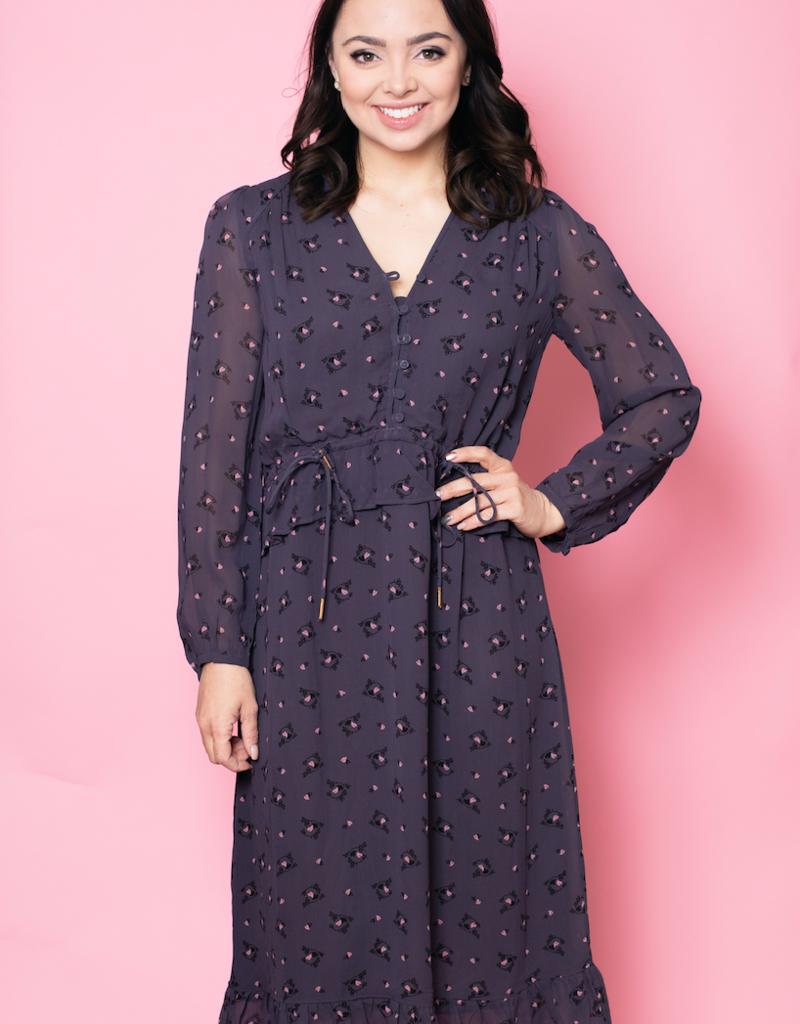 Noa Noa Long Sleeve Heart Print Dress