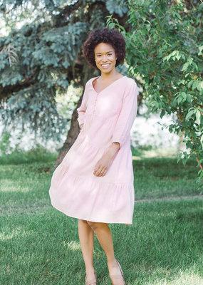 Cream Esta Blush Linen Midi Dress