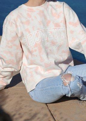 "Brunette the Label The ""BRUNETTE"" Step Sister Crew Neck Sweatshirt in Marble Tie-Dye"