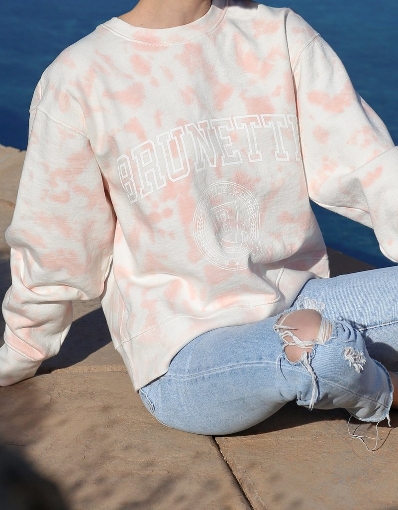 "Brunette the Label The ""BRUNETTE"" Step Sister Crew Neck Sweatshirt in Marble Tie-Dye"