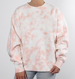 "Brunette the Label The ""BLONDE"" Step Sister Crew Neck Sweatshirt in Marble Tie-Dye"