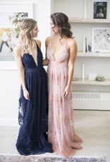 Luxxel Halle Maxi Dress with Velvet Flower Detail - Navy