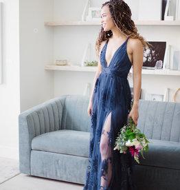 Luxxel Halle Maxi Dress with Velvet Flower Detail in Navy