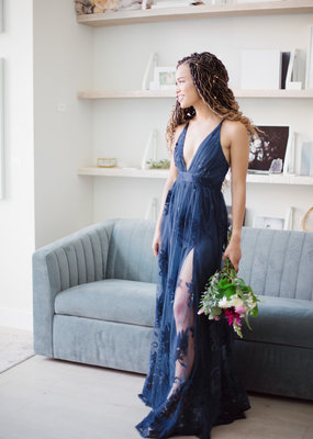 Luxxel Halle Maxi Dress with Velvet Flower Detail in Navy