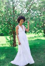 Luxxel Halle Maxi Dress with Velvet Flower Detail - White