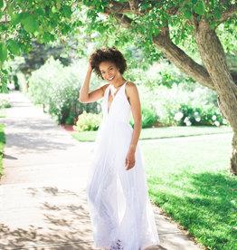 Luxxel Halle Maxi Dress with Velvet Flower Detail in White
