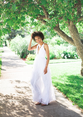 Luxxel Halle Maxi Dress with Velvet Flower Detail in White